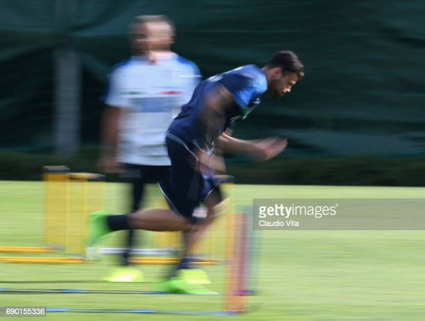 Andrea Petagna of Italy in action during the training session at Coverciano at Coverciano on May 30 2017 in Florence Italy
