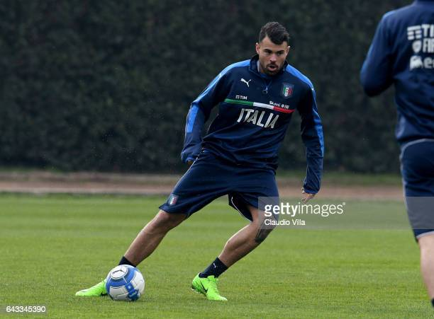 Andrea Petagna of Italy in action during the training session at the club's training ground at Coverciano on February 21 2017 in Florence Italy