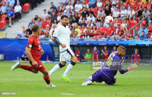 Andrea Petagna of Italy shoots at goal during the UEFA European Under21 Championship Group C match between Czech Republic and Italy at Tychy Stadium...