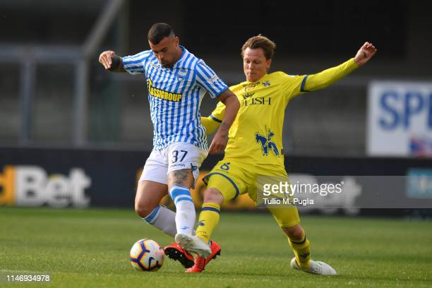 Andrea Petagna of SPAL and Nicolas Sebastien Frey of Chievo Verona compete for the ball during the Serie A match between Chievo Verona and SPAL at...