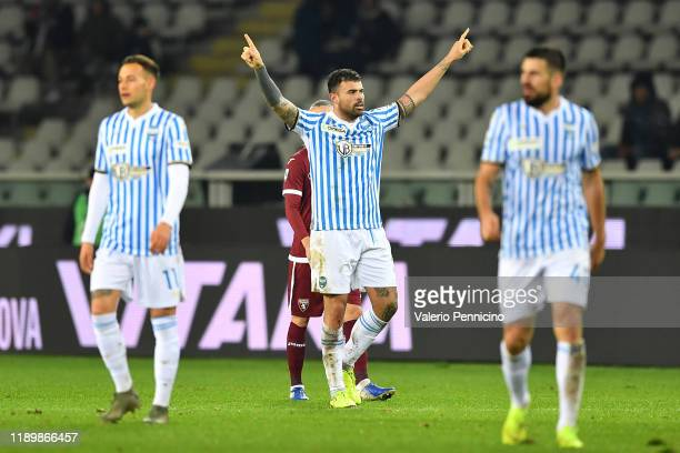 Andrea Petagna of SPAL celebrates a goal during the Serie A match between Torino FC and SPAL at Stadio Olimpico di Torino on December 21 2019 in...