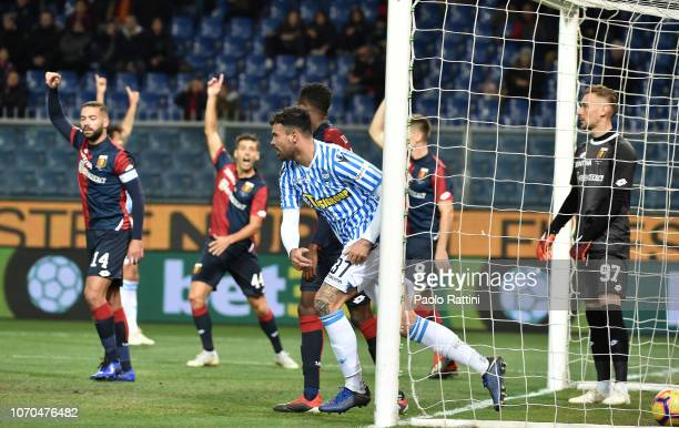 Andrea Petagna of Spal celebrates after score first goal 01 during the Serie A match between Genoa CFC and SPAL at Stadio Luigi Ferraris on December...