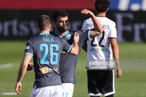 Andrea Petagna of Spal celebrates after scoring a goal during the Serie A match between Parma Calcio and SPAL at Stadio Ennio Tardini on March 8 2020...