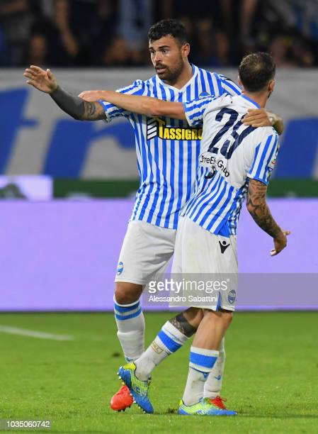 Andrea Petagna of Spal celebrates after scoring his team second goal with Manuel Lazzari of Spal during the serie A match between SPAL and Atalanta...
