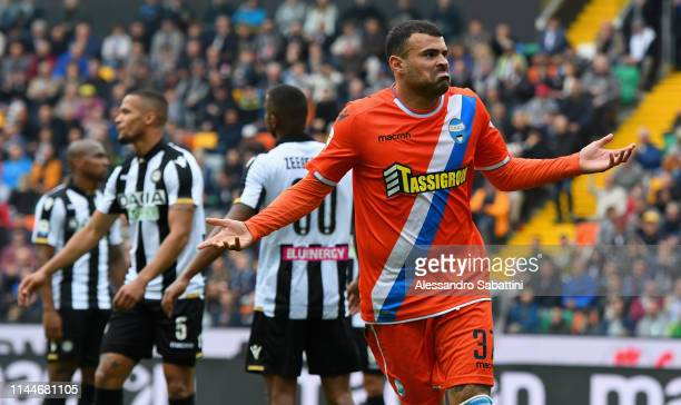 Andrea Petagna of Spal celebrates after scoring the 3-1 goal during the Serie A match between Udinese and SPAL at Friuli Stadium on May 18, 2019 in...