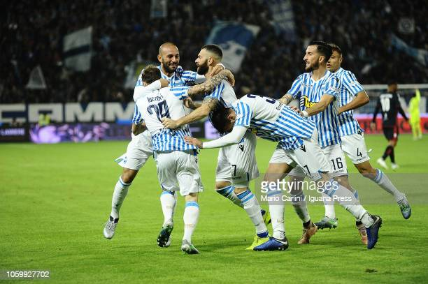 Andrea Petagna of SPAL celebrates after scoring the opening goal during the Serie A match between SPAL and Cagliari at Stadio Paolo Mazza on November...