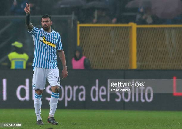 Andrea Petagna of Spal celebrates after scoring the opening goal during the Serie A match between Atalanta BC and SPAL at Stadio Atleti Azzurri...