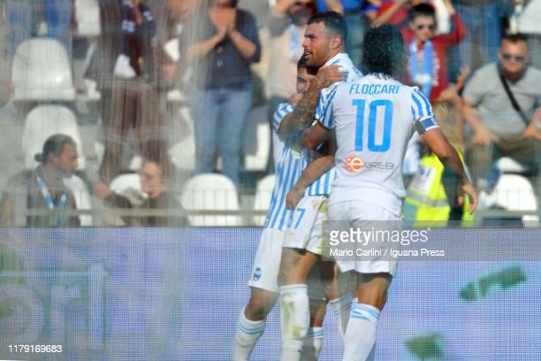 Andrea Petagna of SPAL celebrates after scoring the opening goal during the Serie A match between SPAL and Parma Calcio at Stadio Paolo Mazza on...