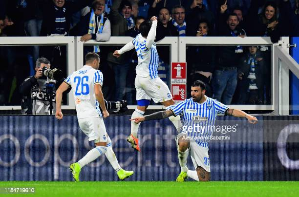 Andrea Petagna of SPAL celebrates after scoring the opening goal during the Serie A match between SPAL and Genoa CFC at Stadio Paolo Mazza on...