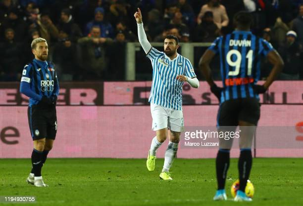 Andrea Petagna of Spal celebrates his goal during the Serie A match between Atalanta BC and SPAL at Gewiss Stadium on January 20, 2020 in Bergamo,...