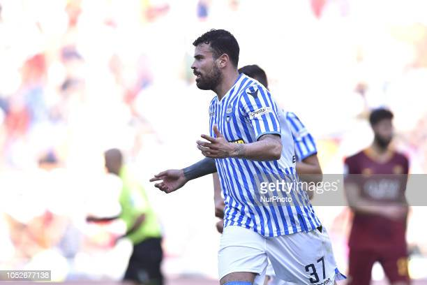 Andrea Petagna of SPAL celebrates scoring first goal during the Serie A match between Roma and SPAL at Stadio Olimpico Rome Italy on 20 October 2018