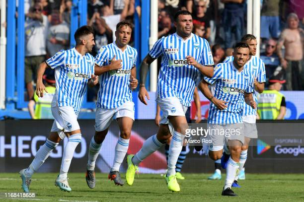 Andrea Petagna of Spal celebrates the first goal with his teammates during the Serie A match between SPAL and SS Lazio at Stadio Paolo Mazza on...
