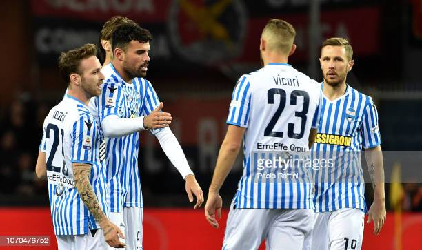 Andrea Petagna of Spal celebrates with teammates after score first goal 01 during the Serie A match between Genoa CFC and SPAL at Stadio Luigi...
