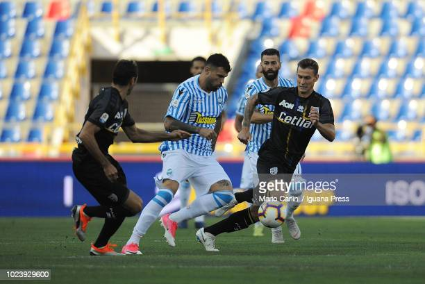 Andrea Petagna of SPAL controls the ball during the serie A match between SPAL and Parma Calcio at Stadio Renato Dall'Ara on August 26 2018 in...