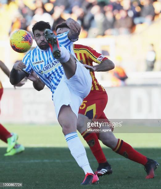 Andrea Petagna of Spal during the Serie A match between US Lecce and SPAL at Stadio Via del Mare on February 16 2020 in Lecce Italy