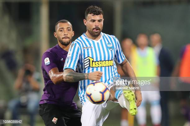 Andrea Petagna of SPAL in action during the Serie A match between ACF Fiorentina and SPAL at Stadio Artemio Franchi on September 22 2018 in Florence...