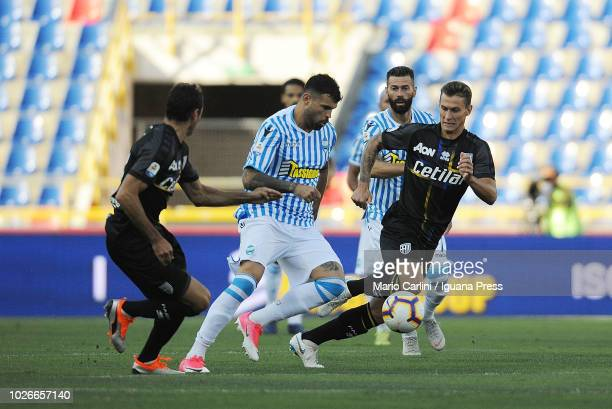 Andrea Petagna of SPAL in action during the serie A match between SPAL and Parma Calcio at Stadio Renato Dall'Ara on August 26 2018 in Bologna Italy