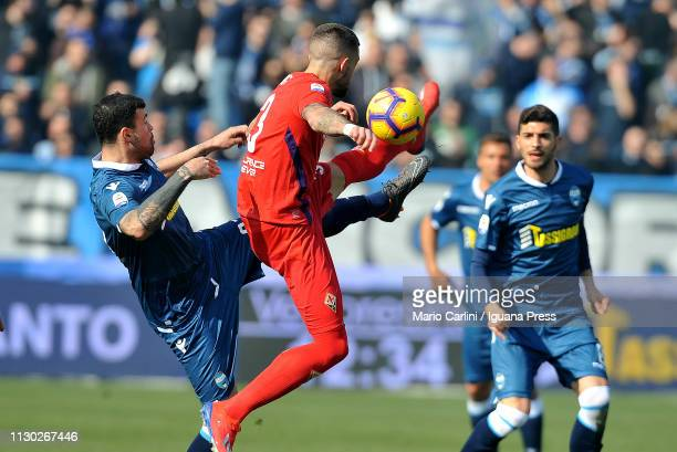 Andrea Petagna of SPAL in action during the Serie A match between SPAL and ACF Fiorentina at Stadio Paolo Mazza on February 17 2019 in Ferrara Italy