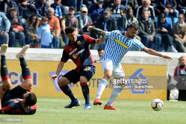 Andrea Petagna of SPAL in action during the Serie A match between SPAL and Genoa CFC at Stadio Paolo Mazza on April 28 2019 in Ferrara Italy