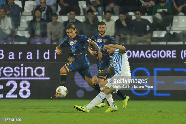 Andrea Petagna of SPAL in action during the Serie A match between SPAL and US Lecce at Stadio Paolo Mazza on September 25 2019 in Ferrara Italy