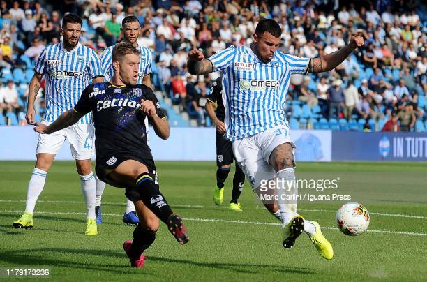 Andrea Petagna of SPAL in action during the Serie A match between SPAL and Parma Calcio at Stadio Paolo Mazza on October 05 2019 in Ferrara Italy