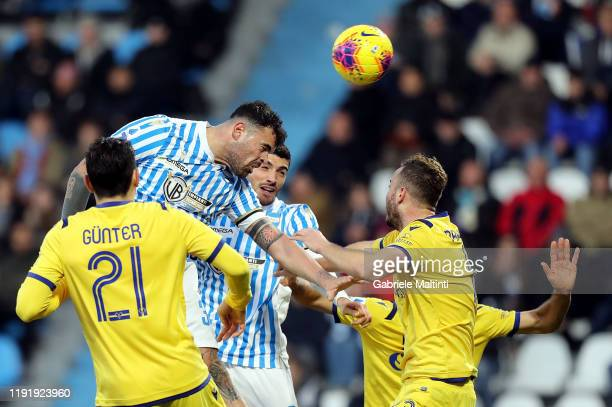 Andrea Petagna of Spal in action during the Serie A match between SPAL and Hellas Verona at Stadio Paolo Mazza on January 5 2020 in Ferrara Italy
