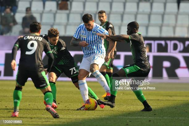 Andrea Petagna of SPAL in action during the Serie A match between SPAL and US Sassuolo at Stadio Paolo Mazza on February 09 2020 in Ferrara Italy
