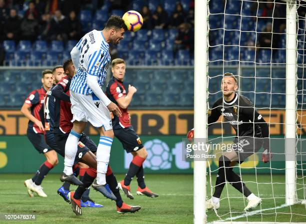 Andrea Petagna of Spal score first goal 01 during the Serie A match between Genoa CFC and SPAL at Stadio Luigi Ferraris on December 9 2018 in Genoa...