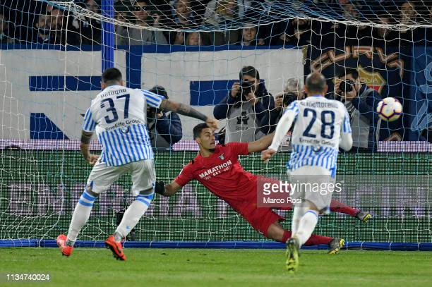 Andrea Petagna of Spal scores a opening goal a penalty during the Serie A match between SPAL and SS Lazio at Stadio Paolo Mazza on April 3 2019 in...