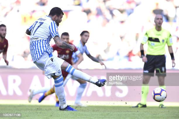 Andrea Petagna of SPAL scores first goal during the Serie A match between Roma and SPAL at Stadio Olimpico Rome Italy on 20 October 2018