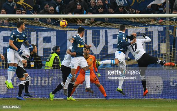 Andrea Petagna of Spal scores his team second goal 22 during the Serie A match between Parma Calcio and SPAL at Stadio Ennio Tardini on January 27...