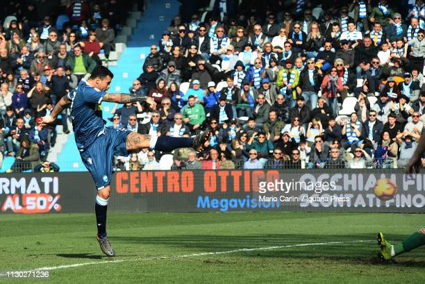 Andrea Petagna of SPAL scores the opening goal during the Serie A match between SPAL and ACF Fiorentina at Stadio Paolo Mazza on February 17 2019 in...