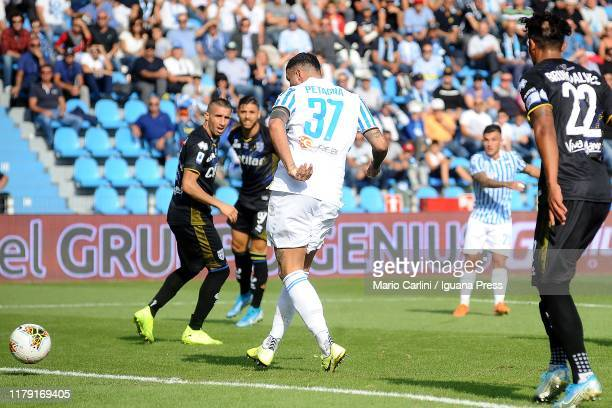 Andrea Petagna of SPAL scores the opening goal during the Serie A match between SPAL and Parma Calcio at Stadio Paolo Mazza on October 05 2019 in...