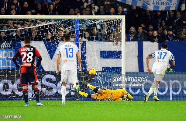 Andrea Petagna of SPAL scores the opening goal during the Serie A match between SPAL and Genoa CFC at Stadio Paolo Mazza on November 25 2019 in...