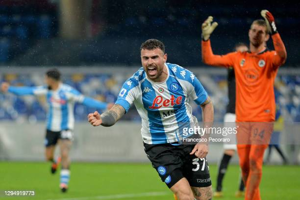 Andrea Petagna of S.S.C. Napoli celebrates after scoring their team's first goal during the Serie A match between SSC Napoli and Spezia Calcio at...