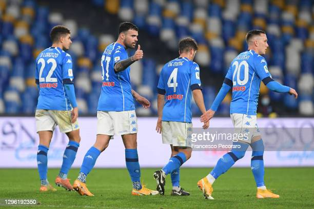 Andrea Petagna of S.S.C. Napoli celebrates with teammates Giovanni Di Lorenzo, Diego Demme and Piotr Zielinski after scoring their team's third goal...