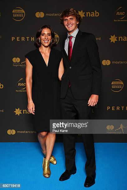 Andrea Petkovic and Alexander Zverev of Germany pose on the blue carpet during the Hopman Cup New Year's Eve Gala at the Crown Perth on December 31...