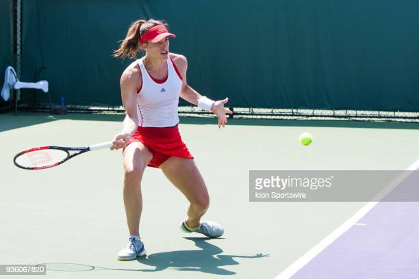 Andrea Petkovic competes during the qualifying round of the 2018 Miami Open on March 20 at Tennis Center at Crandon Park in Key Biscayne FL