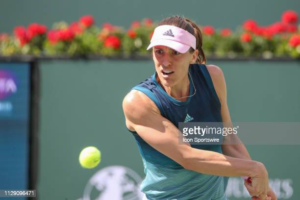 Andrea Petkovic hits a backhand during the BNP Paribas Open on March 7 2019 at Indian Wells Tennis Garden in Indian Wells CA