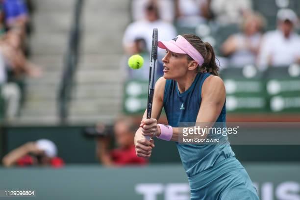 Andrea Petkovic hits a volley during the BNP Paribas Open on March 7 2019 at Indian Wells Tennis Garden in Indian Wells CA