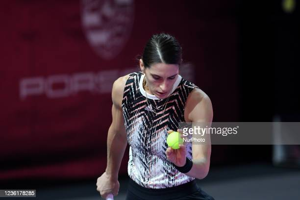 Andrea Petkovic in action - preparing for serving during her match against Varvara Gracheva on the fourth day of WTA 250 Transylvania Open Tour held...
