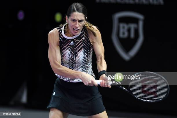 Andrea Petkovic in action - receiving the ball during her match against Varvara Gracheva on the fourth day of WTA 250 Transylvania Open Tour held in...
