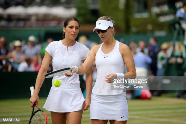 Andrea Petkovic of Germany and Mirjana LucicBaroni of Croatia during their Ladies' Doubles match against Lucie Hradecka of the Czech Republic and...