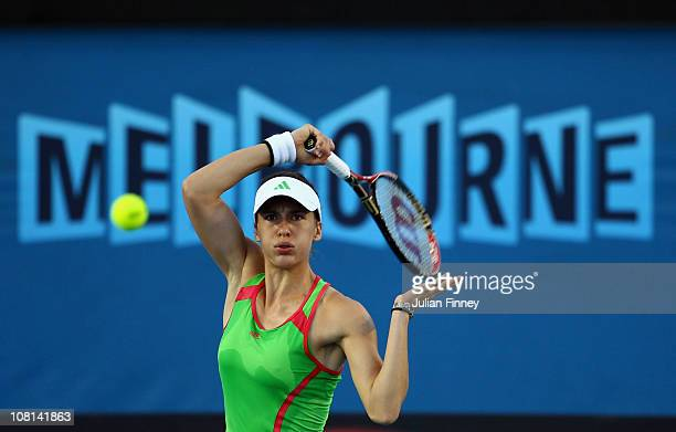 Andrea Petkovic of Germany appeals plays a forehand in her second round match against Anne Keothavong of Great Britain during day three of the 2011...