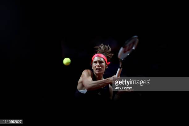 Andrea Petkovic of Germany celebrates a point during her first round match against Sara Sorribes Tormo of Spain on day 2 of the Porsche Tennis Grand...