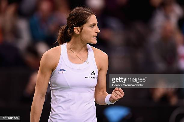 Andrea Petkovic of Germany celebrates a point during her single match against Jarmila Gajdosova of Australia during the Fed Cup 2015 World Group...