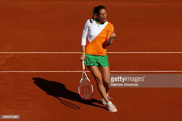 Andrea Petkovic of Germany celebrates a point during her women's singles quarterfinal match against Sara Errani of Italy on day eleven of the French...