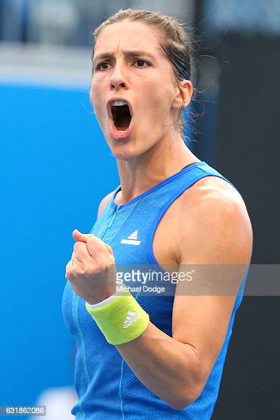 Andrea Petkovic of Germany celebrates a point in her first round match against Kayla Day of the United States on day two of the 2017 Australian Open...
