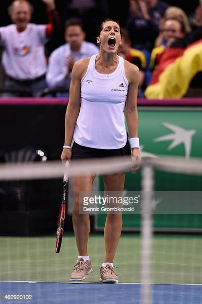 Andrea Petkovic of Germany celebrates after her victory in her single match against Samantha Stosur of Australia during the Fed Cup 2015 World Group...