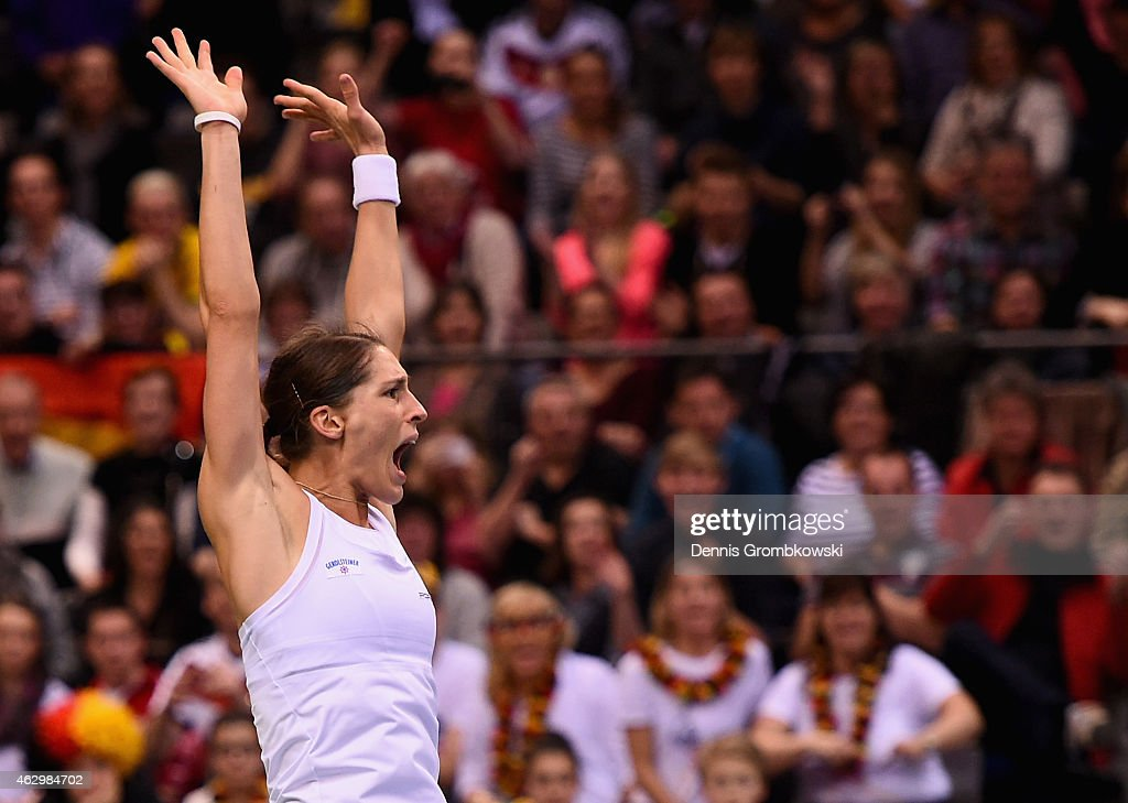 Andrea Petkovic of Germany celebrates after her victory in her single match against Jarmila Gajdosova of Australia during the Fed Cup 2015 World Group First Round tennis between Germany and Australia at Porsche-Arena on February 8, 2015 in Stuttgart, Germany.